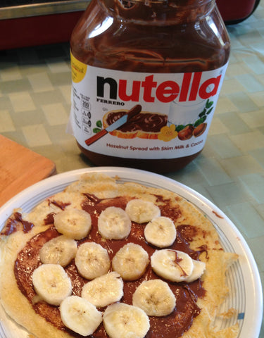 Crepes with banana slices and Nutella