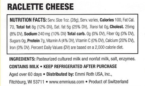 Nutrition Label for Emmi Raclette Cheese