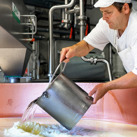 Washing the curds on Alp Maran our adopted alp making Raclette Cheese