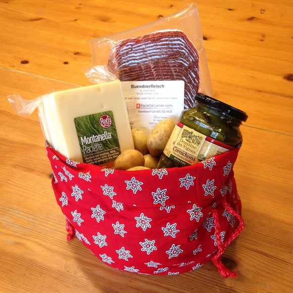 Gift Bag - Red Potato bag with Montanella Cheese for 4-6 persons