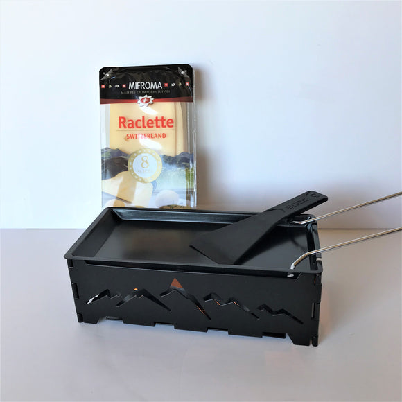 Gift Bundle - Raclette for two with foldable candle light melter and cheese