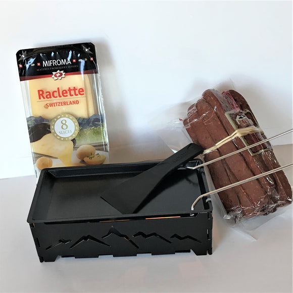 Foldable raclette tea light melter with cheese and landjaeger - gift bundle
