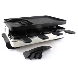 Swissmar raclette grill, white for 8 persons, non-stick reversible grill top