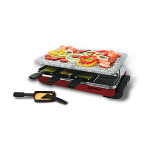 Swissmar - 8 Person Red Classic Raclette Grill with granite stone top