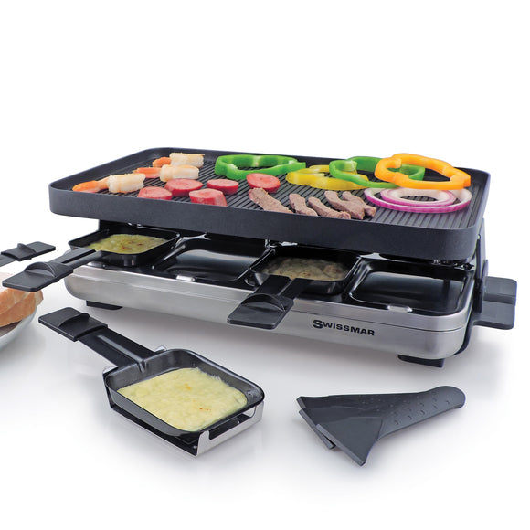 Raclette Grill Valais for 8 persons with reversible grill top, non stick