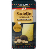 Mifroma raclette cheese with truffles, sliced