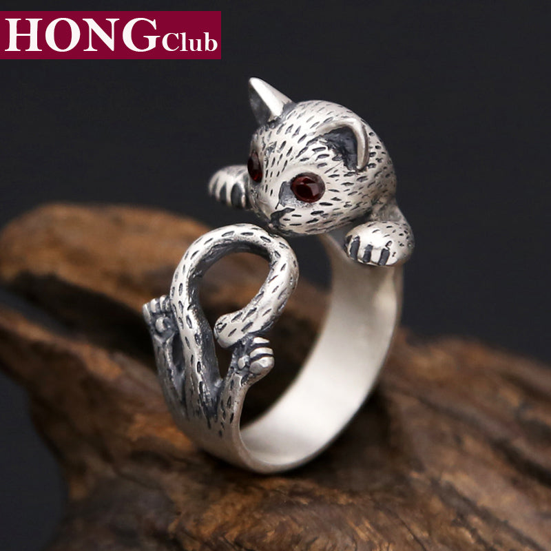 2017 new s990 sterling silver ring women jewelry cute cat crystal engagement love ring adjustable gift - Crystal Wedding Rings