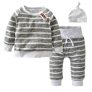 3Pcs/Set Baby Clothing Sets 2017 Autumn Baby Boys Clothes Infant Striped T-shirt+Pants+Hat Kids Outfits Toddler Suit