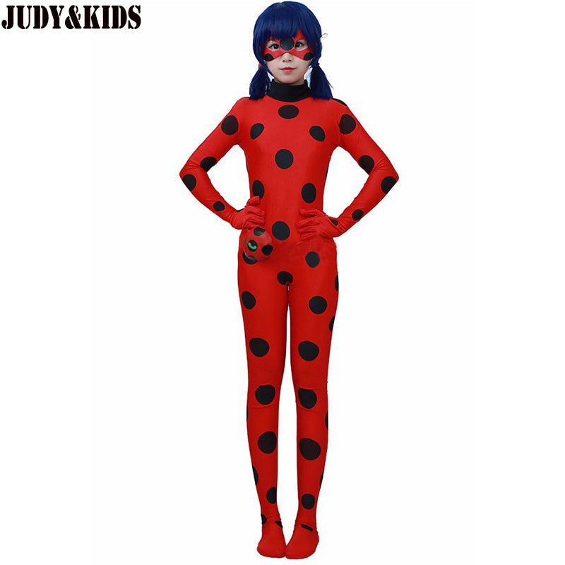 Children Clothing Sets Lady Bug Cosplay Sets Ladybug Halloween Christmas Party Custume Kids One-piece Girls Suit Spandex Onesie
