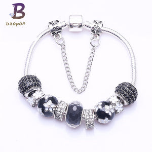BAOPON Fashion Silver Plated Black Crystal&Glass Beads Women charm Bracelet Fit pandora Bracelet Young Boy&Girl For Gift