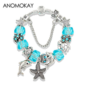 Antique Silver Color Starfish Dolphin Bead Pan Bracelet Ocean Charm Pan Bracelets & Bangles Fashion Jewelry Gift Pulseras
