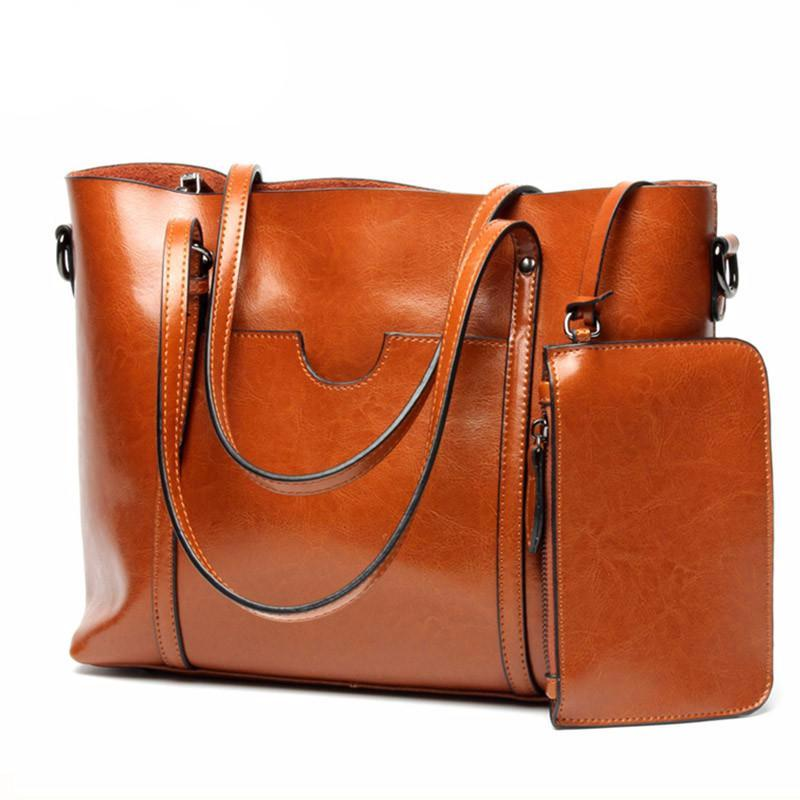 Genuine Leather Women Handbags Big Tote 2017 2pcs