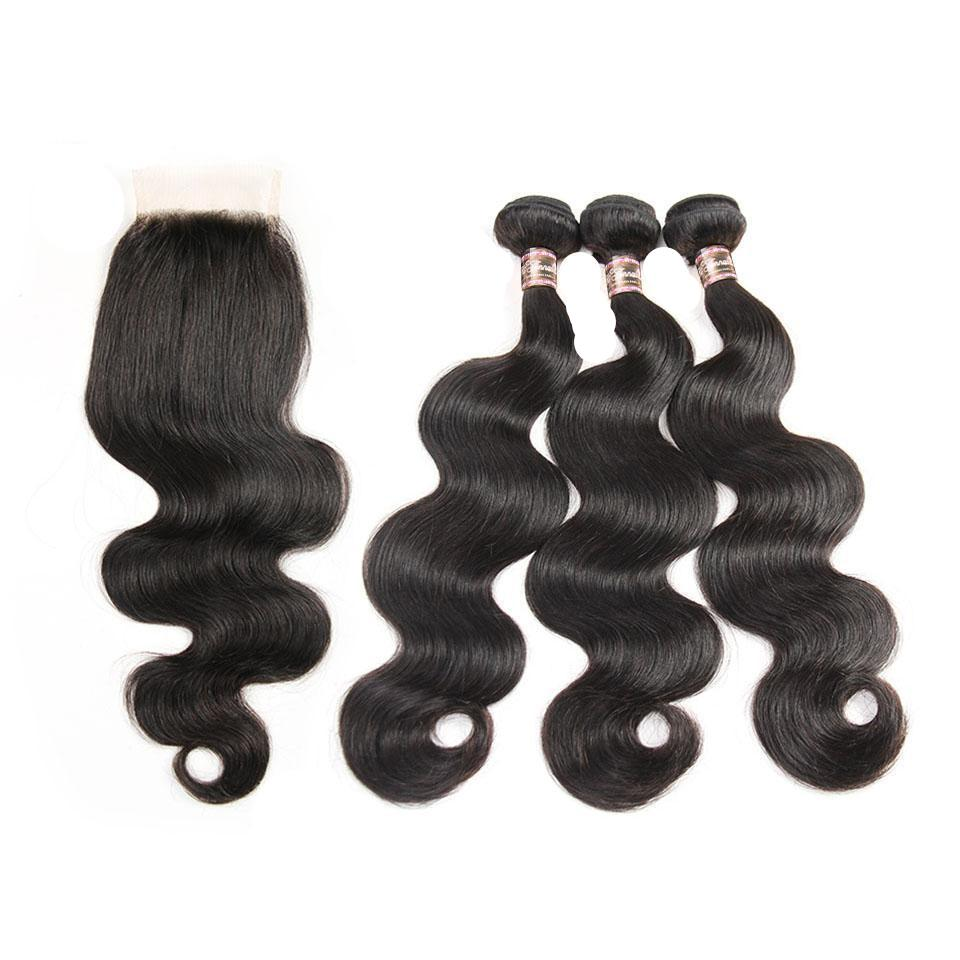Brazilian Body Hair 3 Bundles Remy Hair with Free Part