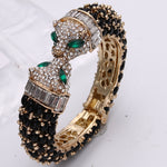 Black Panther Crystal Leopard Kiss Bangles & Bracelets  Party Jewelry