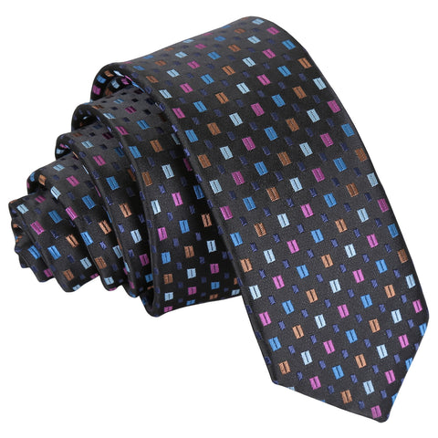 Bohemian Geometric Skinny Tie - Black with Blue and Pink
