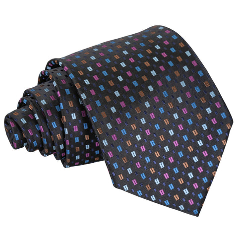 Bohemian Geometric Classic Tie - Black with Blue and Pink