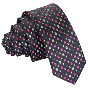 Bohemian Geometric Skinny Tie - Black with Pink and Silver