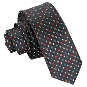 Bohemian Geometric Skinny Tie - Black with Red and Gold