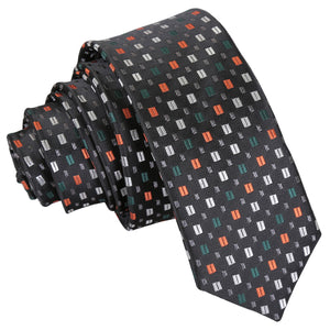 Bohemian Geometric Skinny Tie - Black with Silver and Orange