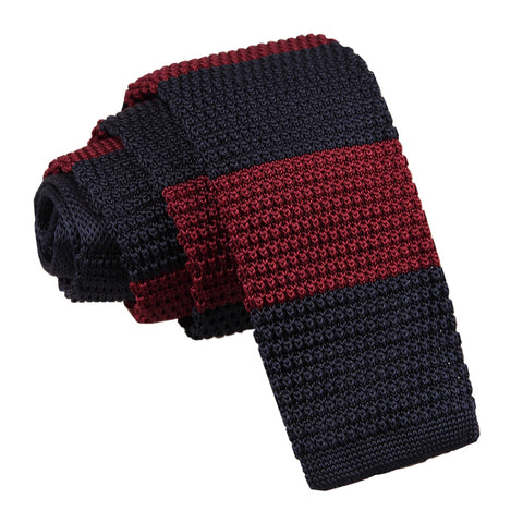 TiesDirect.co.uk - Knitted Striped Skinny Tie Colour burgundy-navy
