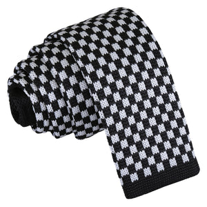 Check Knitted Skinny Tie - White & Black