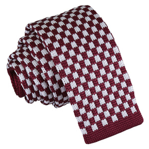 Check Knitted Skinny Tie - White & Burgundy