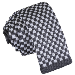 Check Knitted Skinny Tie - White & Grey