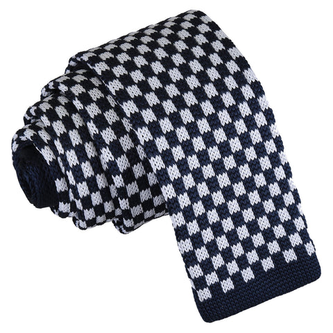 Check Knitted Skinny Tie - White & Navy