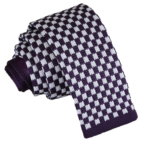 Check Knitted Skinny Tie - White & Purple