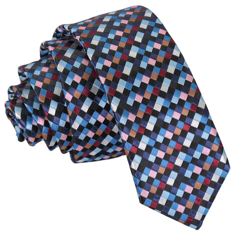 Chequered Geometric Skinny Tie - Black with Blue, Burgundy and Bronze