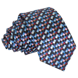 Chequered Geometric Slim Tie - Black with Blue, Burgundy and Bronze