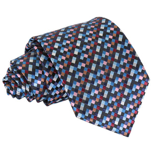 Chequered Geometric Classic Tie - Black with Blue, Burgundy and Bronze