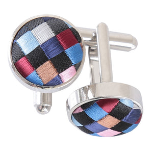 Chequered Geometric Cufflinks - Black with Blue, Burgundy and Bronze