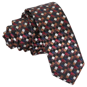 Chequered Geometric Skinny Tie - Black with Bronze, Silver and Red