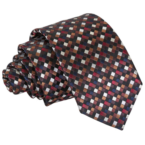 Chequered Geometric Slim Tie - Black with Bronze, Silver and Red