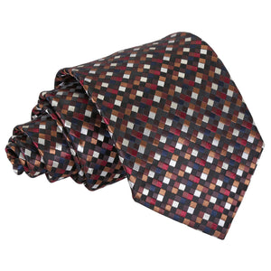 Chequered Geometric Classic Tie - Black with Bronze, Silver and Red
