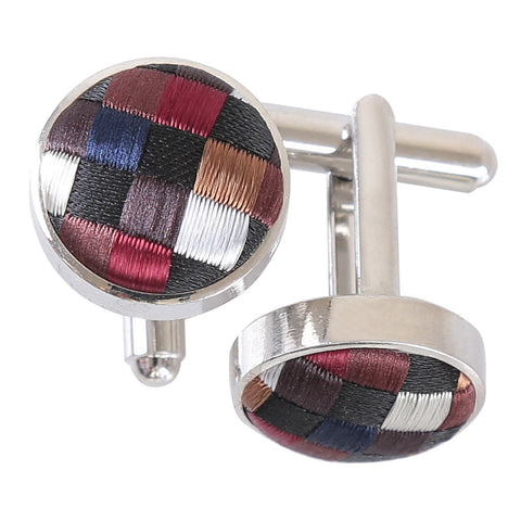 Chequered Geometric Cufflinks - Black with Bronze, Silver and Red
