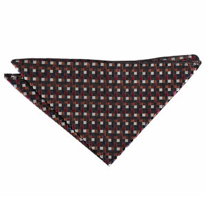 Chequered Geometric Handkerchief - Black with Bronze, Silver and Red