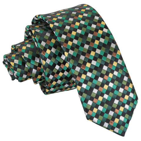 Chequered Geometric Skinny Tie - Green with Gold, Silver and Bronze