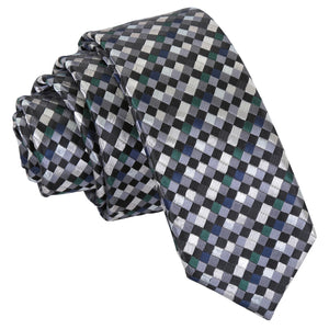 Chequered Geometric Skinny Tie - Silver with Black, Green and Navy