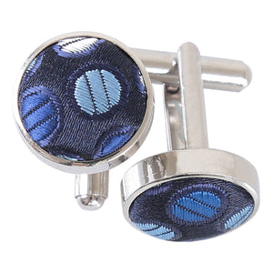 Chequered Polka Dot Cufflinks - Blue, Silver & Royal