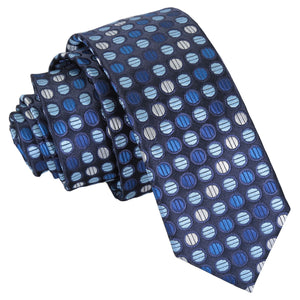 Chequered Polka Dot Skinny Tie - Blue, Silver & Royal