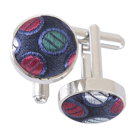 Chequered Polka Dot Cufflinks - Burgundy, Blue & Green