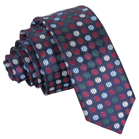 Chequered Polka Dot Skinny Tie - Burgundy, Blue & Green