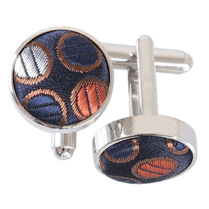 Chequered Polka Dot Cufflinks - Gold, Silver & Orange