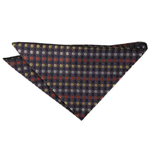 Chequered Polka Dot Handkerchief - Gold, Silver & Orange