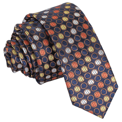 Chequered Polka Dot Skinny Tie - Gold, Silver & Orange