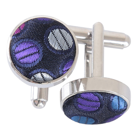 Chequered Polka Dot Cufflinks - Purple, Blue & Pink