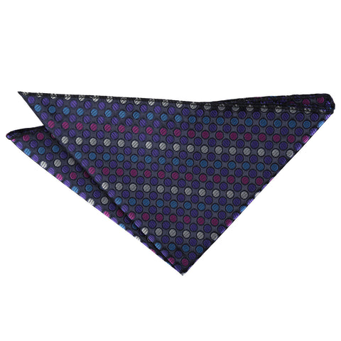 Chequered Polka Dot Handkerchief - Purple, Blue & Pink