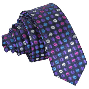Chequered Polka Dot Skinny Tie - Purple, Blue & Pink